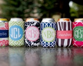 set of 4 monogrammed drink beverage insulator - choose from six template options, customize name/initials only