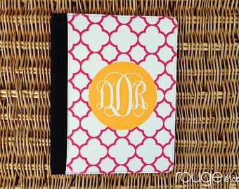 iPad2/3/4 folio case - REVERSE CLOVER pattern with custom monogram