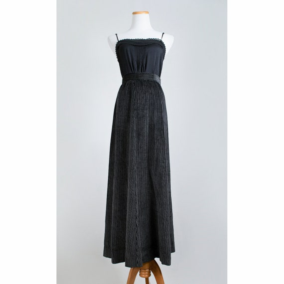 1970s Velvet Skirt / 70s Striped Maxi Skirt / Black and Grey Full Length Skirt / SALE