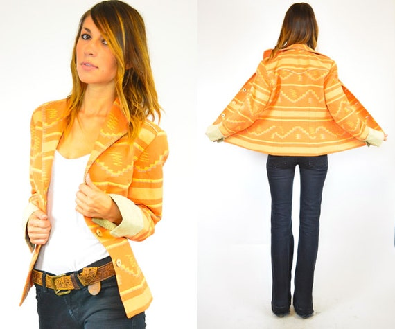 southwestern boho TANGERINE tri colored NAVAJO fitted hourglass BLAZER jacket, extra small-small