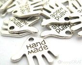 Handmade Hand Charms, Silver 12pc, Small 12mm