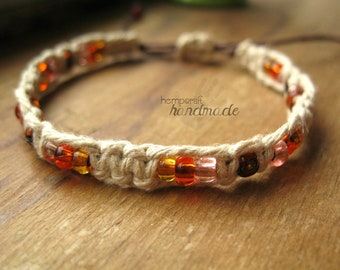 Hemp Macrame Bracelet with Orange Brown and Pink Glass Beads