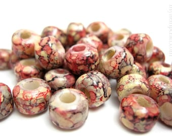 Glass Crow Beads, Peach Pink Glass Pony Beads - 50pcs - 9mm
