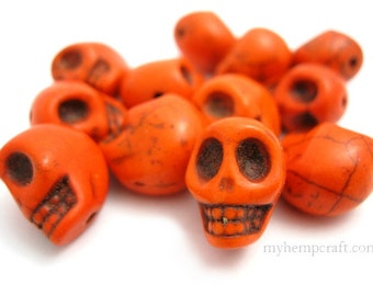 Skull Beads, Orange Day of the Dead Magnesite Stone Beads - 12pcs - Small 8x12mm