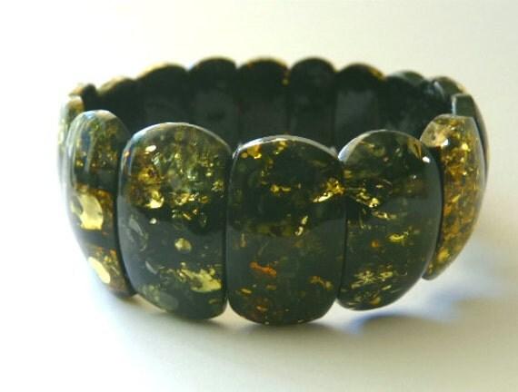 "Baltic Amber Green Bracelet Stretch 8"" 21 gram"