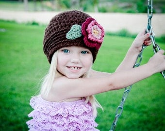 Girl Hat Winter Brim Crocheted Hat Brown with Buttercup, Dusty Rose, Old Rose, Raspberry flower and Sage leaves
