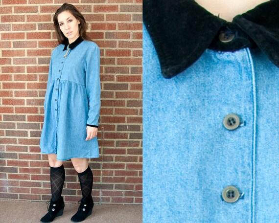 90s Vintage Denim Baby Doll Velvet Collar Button Down Dress (M, L)