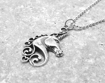 Unicorn Necklace, Unicorn Jewelry, Unicorn Pendant, Charm Necklace, Sterling Silver Jewelry, Unicorn Charm, Sterling Silver Unicorn Necklace