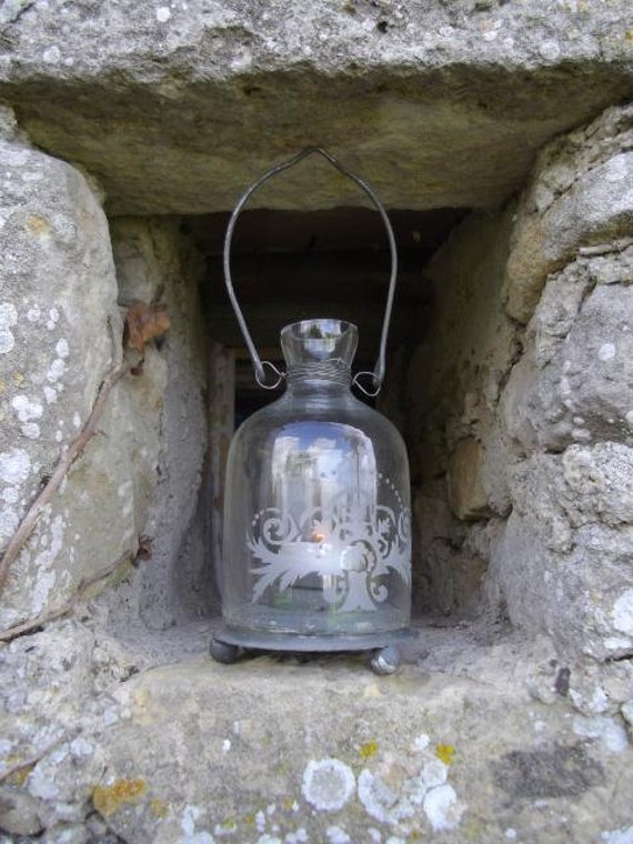 Sweet shabby chic vintage French glass and zinc candle lantern - perfect for garden or indoor night light