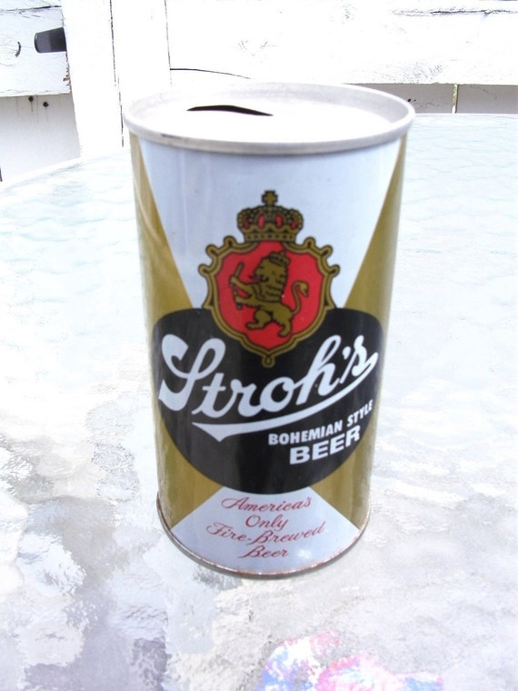 Vintage Stroh's Pull Top Beer Can