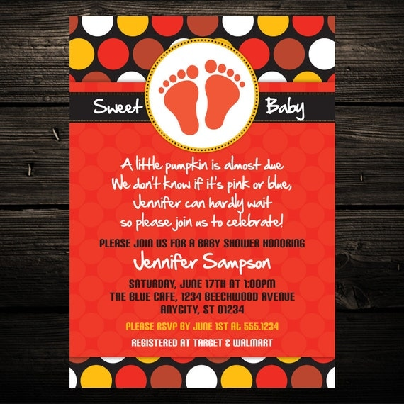 Mod Fall Pumpkin Dots Printable Baby Shower or Birthday Invitation -- Any color