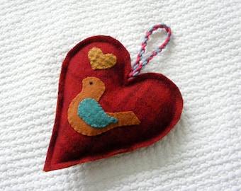Bird heart ornament