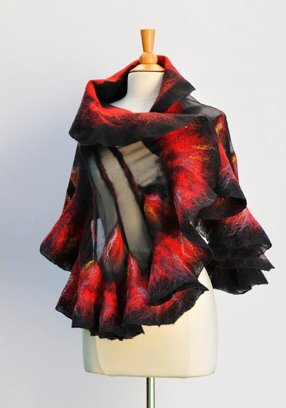 Nuno felted scarf wrap / handfelted / merino wool / silk chiffon