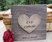 Rustic Wedding Guest Book - French Country Chic - Stained Wood Guest Sign-In Book with Large Personalized Heart Stained and Distressed