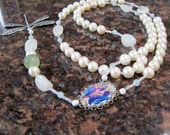 Archangel Gabriel - Rainbow Moonstone, Aquamarine and Pearls Chakra Rosary Pendant Necklace