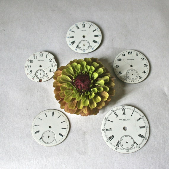 Vintage Pocket Watch Parts Antique Faces for Steampunk Assemblage, Collage and Altered Art - Collection 22