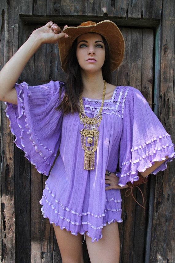 Vintage 70s LAVENDER ROMANCE Top BOHO Crochet Hippie Ribbon Gauze Ultra Mini Vintage Clothes by TatiTatiVintage on Etsy