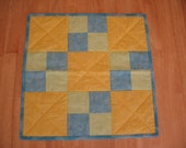 Blue Yellow Green Small Four Patch Quilt