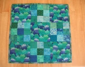 Blue and Green Frog Nine Patch Quilt