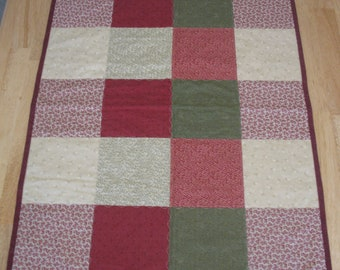 Red Green Flannel Squares Quilt