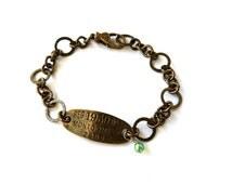 Darling Dainty Vintage Style Dog Tag Bracelet