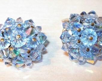 Be Glittery... Vintage 1960s Blue Aurora Borealis Rhinestone Bead Clip on Earrings