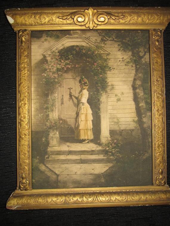 Victorian Era Print in Gilded Gesso Frame - James Arthur