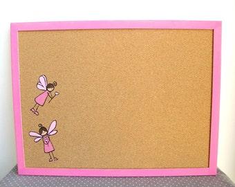 kids cork board- Pink fairies bulletin board -  Girls decorativemessage board, Bulletin Board, gift for girls, cork message board