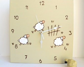 Children Wall clock- jumping lamb/ sheep tan clock -unique gift- canvas clock- Decorative hand painted Square clock