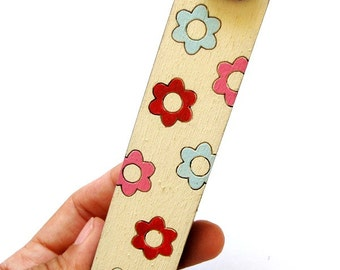 Kids mezuzah flowers pink, aqua and red mezuzah for a new baby new born girl nursery room