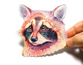 Raccoon wild animal sticker, 100% waterproof vinyl label.