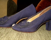 Sale WWII 1940s 40s navy blue heels with accent bows SZ 6.5-7N