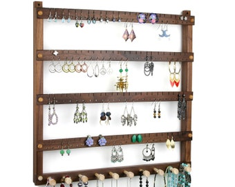 Black Walnut Earring Holder - Jewelry Organizer, Hanging, Wood. Holds 96 pairs plus 10 peg Necklace Holder.  Wall Mounted Jewelry Display