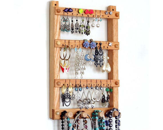 Earring Holder, Jewelry Organizer, Oak, Wood, Hanging, Necklace Organizer.  Wall Mounted.  30 pairs, 4 pegs. Jewelry Display