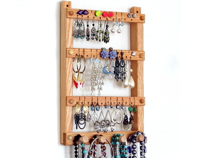 earring holder jewelry organizer oak wood hanging