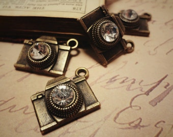 6pcs Antiqued Bronze 19x14mm Camera  with Shiny Crystal 3D Lens Travel Theme Connectors Charms Pendants Drops HK-J51