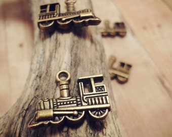 8pcs of Antique Bronze 22x13mm Double-sided Train Charms P23-HK