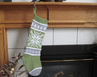 Green, Gray and White Knit Christmas Stocking
