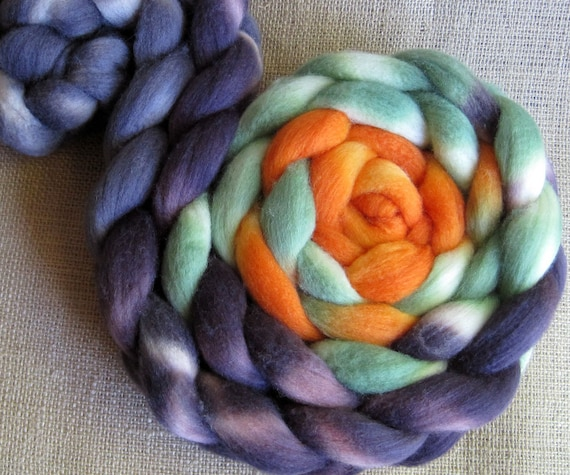 Witches Brew - Polwarth & Silk Fiber - Hand Dyed Roving 4 oz