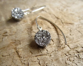 Silver Druzy Earrings Titanium Drusy Quartz Sterling Silver