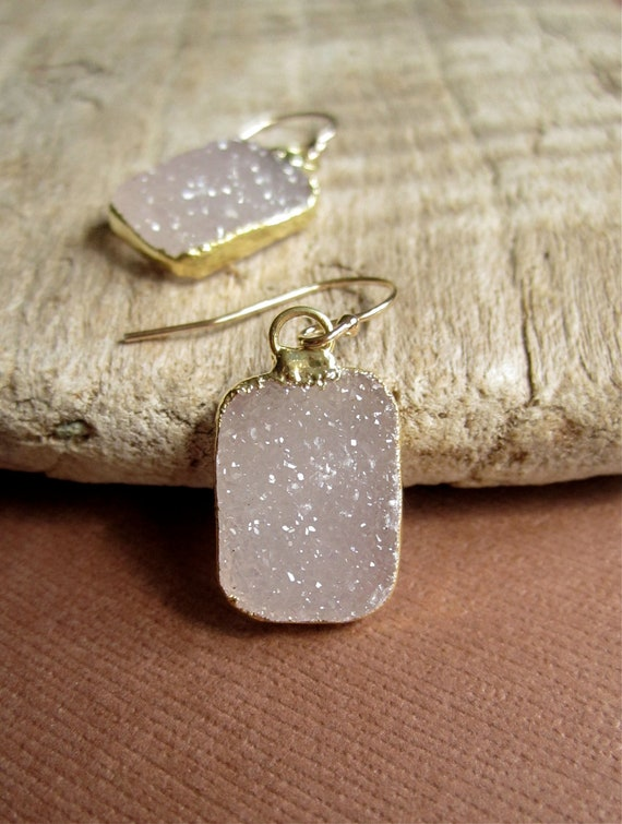Gold Druzy Earrings Agate Drusy Quartz Tags