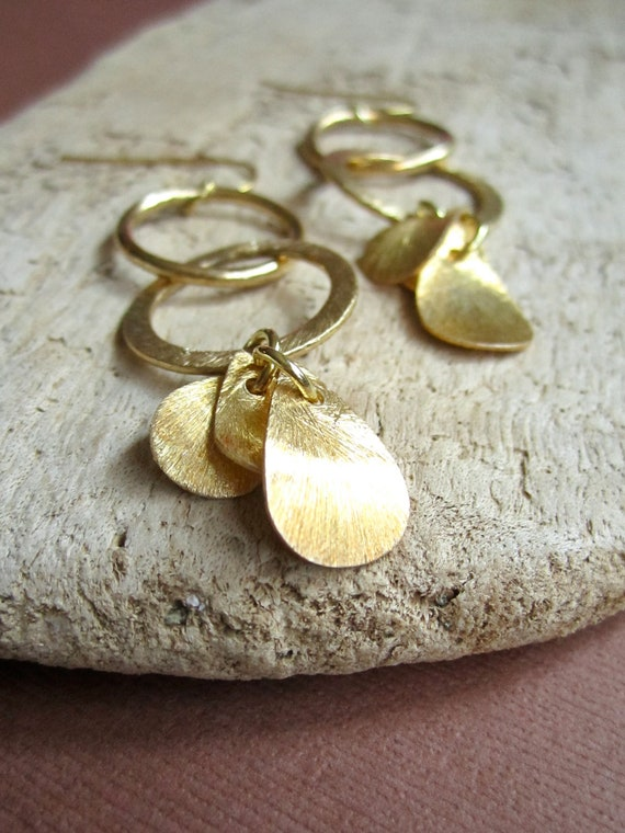 Gold Vermeil Petal Circle Hoop Earrings