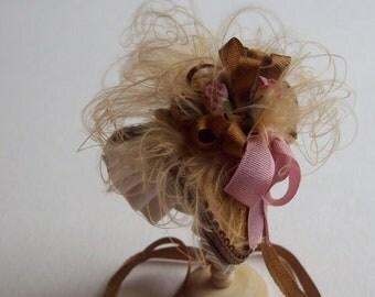 Handmade 1/12th scale dollshouse beautiful mid brown silk bonnet