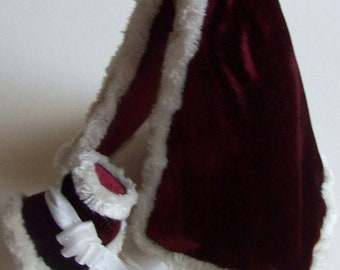 Red silk velvet fur trimmed cape and matching bonnet 1/12th scale dollhouse miniature