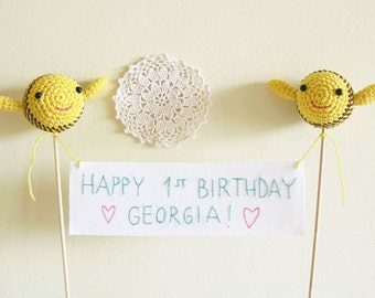 Happy Birthday Cake Topper, Crochet Bumble Bee Party Decoration