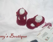 Knit Ruby Slippers Valentines Baby Booties