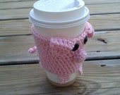 Crochet Pattern Little Pink Pig Piggie Coffee Cup Cozy with little pig tail fit great with Starbucks cup