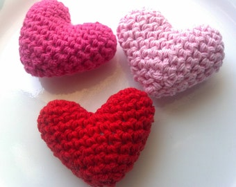 Summer SALE 3D Heart set of 3 Crochet Handmade heart Amigurumi cute for wedding decoration, Velentine's day ornament, garland