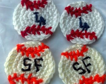 crochet handmade baseballs Appliques - You choose your own team- featured in Dodger team & San Francisco Giants Sports Team MLB