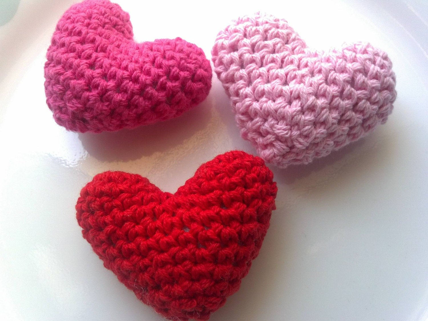 Summer SALE 3D Heart set of 3 Crochet Handmade heart by Qspring